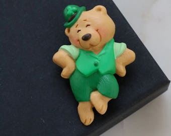 Vintage Bear Brooch - Dancing Bear Brooch - Green Bear Pin