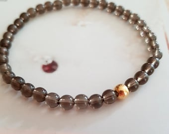 Smoky Quartz STRETCH Bracelet Gold Fill or 925 Silver - Root Chakra jewelry - healing jewellery gift