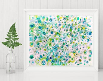 Abstract Art Printable - Abstract Painting Printable - Abstract Art Print - Instant Download Print, 8x10 11x14 green white turquoise circles