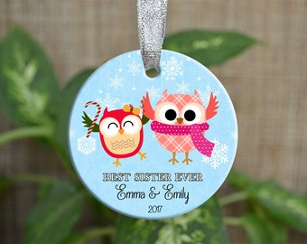 Personalized Christmas Ornament, Baby first Christmas ornament, Custom Ornament, Newborn baby gift, best sister ever, Christmas gift. o054