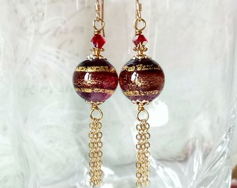 Boucles Verre Murano authentique Prune feuille d'or, Cristal Swarovski / Pl or 14kt Gold filled - Genuine Murano purple, gold foil earrings