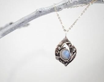 Elven Moonstone Drop Pendant, Antiqued Fine Silver