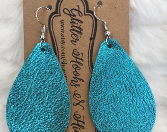 Robin Egg Blue Metallic Leather Teardrop Earrings