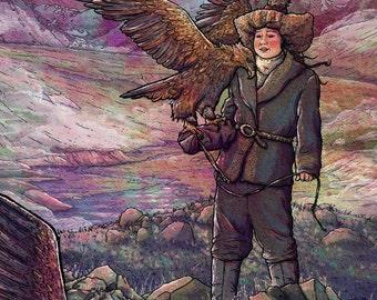 Eagle Huntress Mongolia Illustration Giclée Print