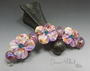LAMPWORK glass beads handmade artisan focal Donna Millard lampwork earrings bracelet Donna Millard purple violet flowers spring summer