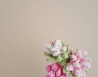 Desk flowers, Set of 3 crochet flowers