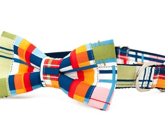 Crew LaLa™ Multi Madras Bow Tie Dog Collar