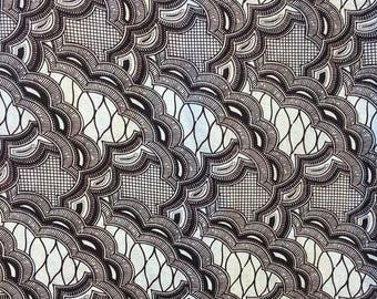 "Original Wax fabric - African fabric ""Guipure"" Celadon and black"