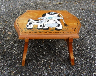 Antique Wood Stool / Primitive Decor / Cow / Child Toy/ Bench