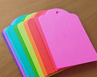 30 Paper Tags, Bright Color Hand Punched Cardstock Tags, 3 x 2 inch Scrapbook and Gift Tags, Craft Show Price Tags,