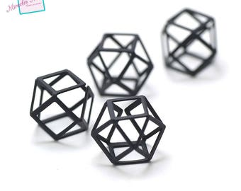 "4 ""octagonal 3D"" /perles connectors 20 x 20 mm, black"