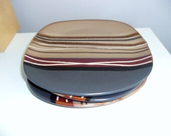 """Home Trends Bazaar Brown Salad Plates Lot of 3 Multi-Color Wedges With Beige And Black Background 8-7/8"""" Wide"""