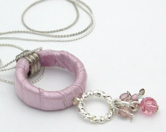 Mother Gift For Women, Silver Necklace with Pink Satin Hoop, Unique Fabric Necklace, Fabric Hoop Necklace
