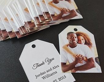 Tags with Photo and Custom Message for Wedding Favors (Ticket Tags)