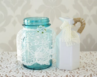 Antique Mason Jar and Milk Glass Vases, Wedding Centerpieces, Country Style