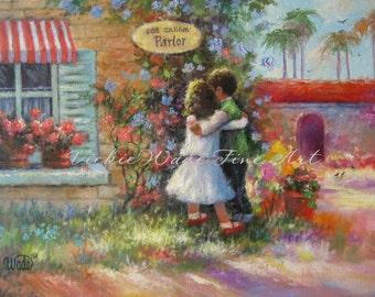 Boy girl Art Print, brother and sister wall decor, boy hugging girl art, ice cream shop, ice cream parlor painting, Vickie Wade art