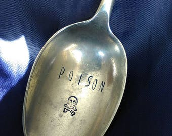 Poison Spoon -  Hand Stamped Spoon - Funny - Coffee - Cutlery - Flatware - Men's Gift - Skull and Crossbones - Cutlery - Flatware