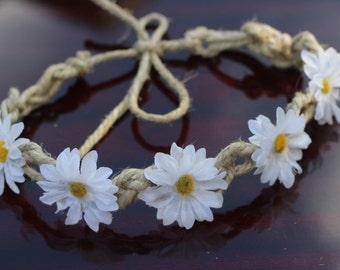 White Daisy Hemp Flower Crown