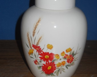 Orange and Yellow flowers on white Cremaiton Urn, Ceramic jar with lid, Jar with lid,Small urn, Small jar, art pottery, handmade