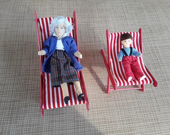 Dollhouse miniature,dollhouse beach chair,set of 2,scale 1:12,deck chairs,lounge chairs, beach chairs,dollhouse furniture, beach chair