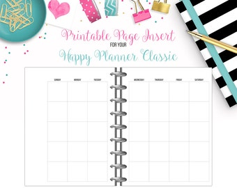 LAST CHANCE: Undated Monthly View 2-Page Calendar Spread - Printable Page Inserts for your Happy Planner Classic - Instant Download