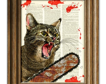 Cat Killer blood-splattered Chainsaw Cat from Texas will massacre you illustration dictionary page book art print …