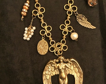 CHARMED Vintage Style Nouveau Angel Necklace with Charms