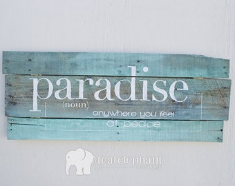 """Pallet Art Definition """"Paradise"""" Home Wall Hanging - Rustic Shabby Chic Nautical Beach Seaglass Seafoam"""