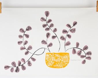 Succulent plant tea towel by MaggieMagoo Designs, contemporary illustration