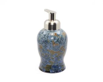 "Crystalline Glaze ""Amazon Rain"" - Foaming Soap Dispenser: Bright Blue Crystals on Olive Green Ground"