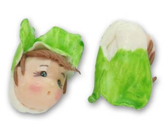 Doll polymer clay green and white 15 mm * 1 Hat