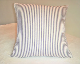 French Blue Pillow Cover Navy Cream Stripe Ticking Homespun Farmhouse Country Prairie Cabin Shabby Cottage