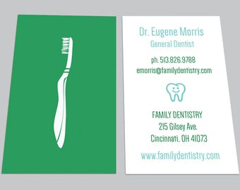 CUSTOM DIGITAL CARDS: Modern Toothbrush Dentist Dental Business Card, Orthodontist, Calling Contact, Printable, Appointment, Download, Diy