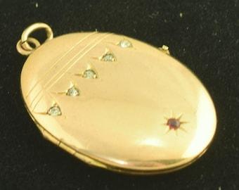 Art Deco Vintage Locket Red & Clear Rhinestone Unmarked Gold Filled Metal ~ 2138