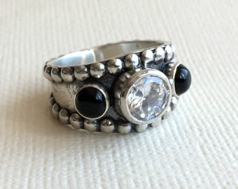 Black Onyx Ring with CZ - Sterling silver - Western Wedding Ring - Unisex - White Diamond ring - Western Rings for Women
