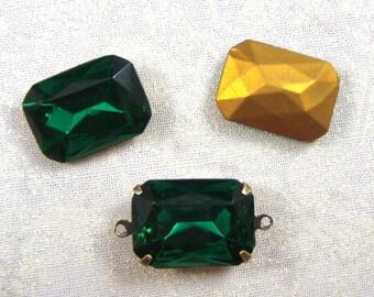 Vintage Octagonal Emerald Glass Jewels or Stones, 25x18 MM