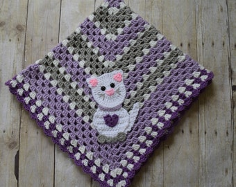 KItty Baby Blanket - Baby Blanket -  Baby Blanket with Kitty Applique - Crochet Kitty Baby Blanket -