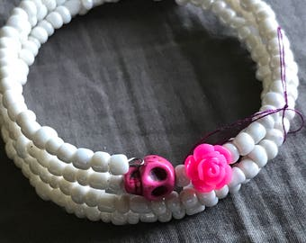 Pink skull/rose with white