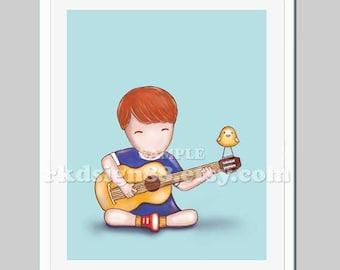 Acoustic guitar, children decor, baby boy nursery art, music room, toddler, red hair, Guitar Lesson