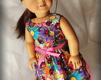 """Ladybug and Flowers Clothes Dress for 18"""" Dolls like American Girl, My Life and Our Generation"""