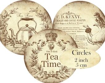 Tea Time Circles 2 inch Instant Download digital collage sheet Teacup Kettle Teatime Cafe C274