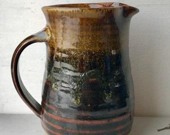 Vintage glazed jug in brown and green - stamped 's' on bottom - kitchen decor