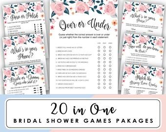 bridal shower games package, bridal shower games printable, Over or Under, Engagement Game, floral Bridal shower Games, Instant Download