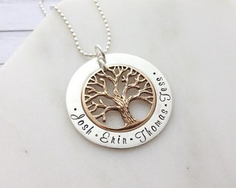 2 Tone Gold & Silver Family Tree - Engraved - Hand Stamped - Personalised Name Necklace Pendant