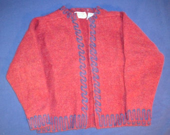 Red sweater with blue trim