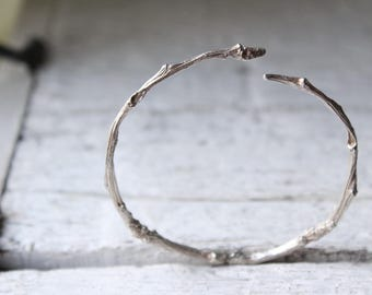 Silver branch bracelet -Sterling silver bracelet -Twig bracelet-Twig jewelry-Botanical branch bracelet-Nature jewelry -Valentines gift