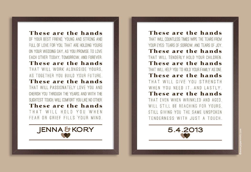 These Are The Hands Wedding Vows Keepsake Set Of Two Prints