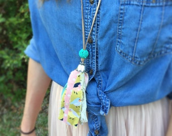 Fabric Tassel Necklace