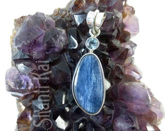 Blue Topaz and Kyanite Pendant 925 silver- was 70