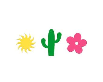 Cactus Confetti for Fiesta, Desert, Retirement, Birthday, Cinco de Mayo Parties, Desert Themed, Pink Flowers, Sun Confetti Shaped Pieces